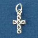Cross Charm with Weave Design Tiny Sterling Silver Pendant