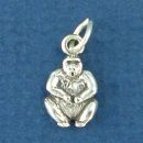 Gorilla Tiny Sterling Silver Charm Pendant
