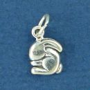 Bunny Rabbit Sitting Tiny Sterling Silver Charm Pendant