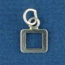 Tiny Letter Number 0 Sterling Silver Charm Pendant