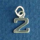 Tiny Letter Number 2 Sterling Silver Charm Pendant