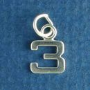 Tiny Letter Number 3 Sterling Silver Charm Pendant