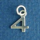 Tiny Letter Number 4 Sterling Silver Charm Pendant