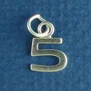 Tiny Letter Number 5 Sterling Silver Charm Pendant