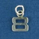 Tiny Letter Number 8 Sterling Silver Charm Pendant