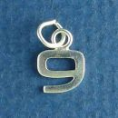 Tiny Letter Number 9 Sterling Silver Charm Pendant