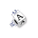 4.5mm Square Sterling Silver Alphabet Beads Image