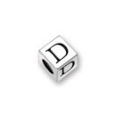 Sterling Silver Alphabet Beads D 4.5mm Letter Beads