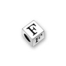 Sterling Silver Alphabet Beads F 4.5mm Letter Beads