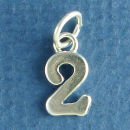 Number 2 Medium Sterling Silver Charm Pendant