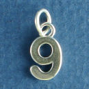 Number 9 Medium Sterling Silver Charm Pendant