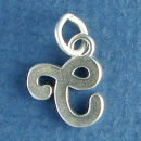 Medium Alphabet Letter Initial C Sterling Silver Charm Pendant