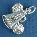Cheerleader Megaphone and Pom Poms with Word Phrase Cheer 3D Sterling Silver Charm Pendant