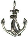 Anchor of a Ship Nautical Medium 3D Sterling Silver Charm Pendant