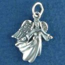 Angel Charm Sterling Silver Pendant Flying with Arms Out Stretched