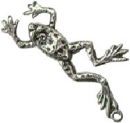 Frog Jumping 3D Sterling Silver Charm Pendant