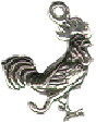 Rooster Sterling Silver Charm Pendant
