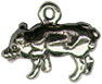 Pig Charm Medium 3D Sterling Silver Pendant