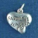 Heart and Apple with Word Phrase Favorite Teacher School Sterling Silver Charm Pendant