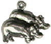 Noah's Ark Pair of Hippos Male and Female Sterling Silver Charm Pendant