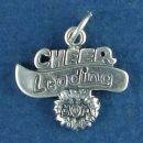 Cheer Leading Mom Word Phrase with Pom Pom Sterling Silver Charm Pendant