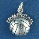 Volleyball Word Phrase on Volleyball Sterling Silver Charm Pendant