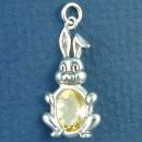Bunny Rabbit with Yellow CZ Sterling Silver Charm Pendant