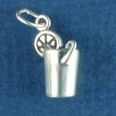 Glass of Limonade Drink with Straw 3D Sterling Silver Charm Pendant