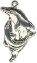 Dolphins Playing Sterling Silver Charm Pendant