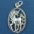 Unicorn Surrounded by Oval Rope Bezel Sterling Silver Charm Pendant