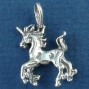 Unicorn Prancing Horse like Mystical Creature 3D Sterling Silver Pendant