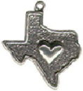 Texas State with Heart Sterling Silver Charm for Charm Bracelet or Necklace