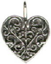 Heart with Lace Design Accents Sterling Silver Charm Pendant