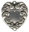 Heart with Vine and Flower Design Sterling Silver Charm Pendant
