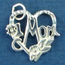 Mom, #1 Word Phase on Rope Heart and Flower Accent Sterling Silver Charm Pendant