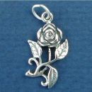 Flower, Rose on Stem Sterling Silver Charm Pendant