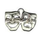 Comedy and Tragedy Drama School Mask Medium Sterling Silver Charm Pendant