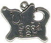 Dog with Word Phrase Good Boy Sterling Silver Charm Pendant