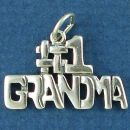 #1 Grandma Word Phase Sterling Silver Charm Pendant