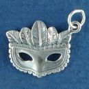 Ladies Mardi Gras Mask with Feather Accents Sterling Silver Charm Pendant