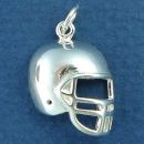 Football Helmet Large Sterling Silver Charm Pendant