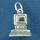Computer Office System Sterling Silver Charm Pendant