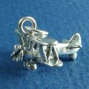 Biplane Airplane Charm Sterling Silver Pendant