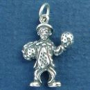 Clown Holding Two Balls 3D Sterling Silver Charm Pendant