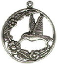 Bird: Hummingbird with Flowers Sterling Silver Charm Pendant