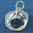 Fireman's Hat 3D Sterling Silver Charm Pendant