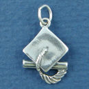 Graduation Cap and Diploma 3D Sterling Silver Charm Pendant