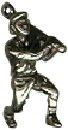 Baseball Player in Batters Position Sports 3D Sterling Silver Charm Pendant