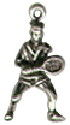 Tennis Player Male Sports 3D Sterling Silver Charm Pendant for Charm Bracelet