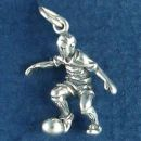 Soccer Player Kicking a Ball 3D Sterling Silver Charm for Charm Bracelet or Necklace